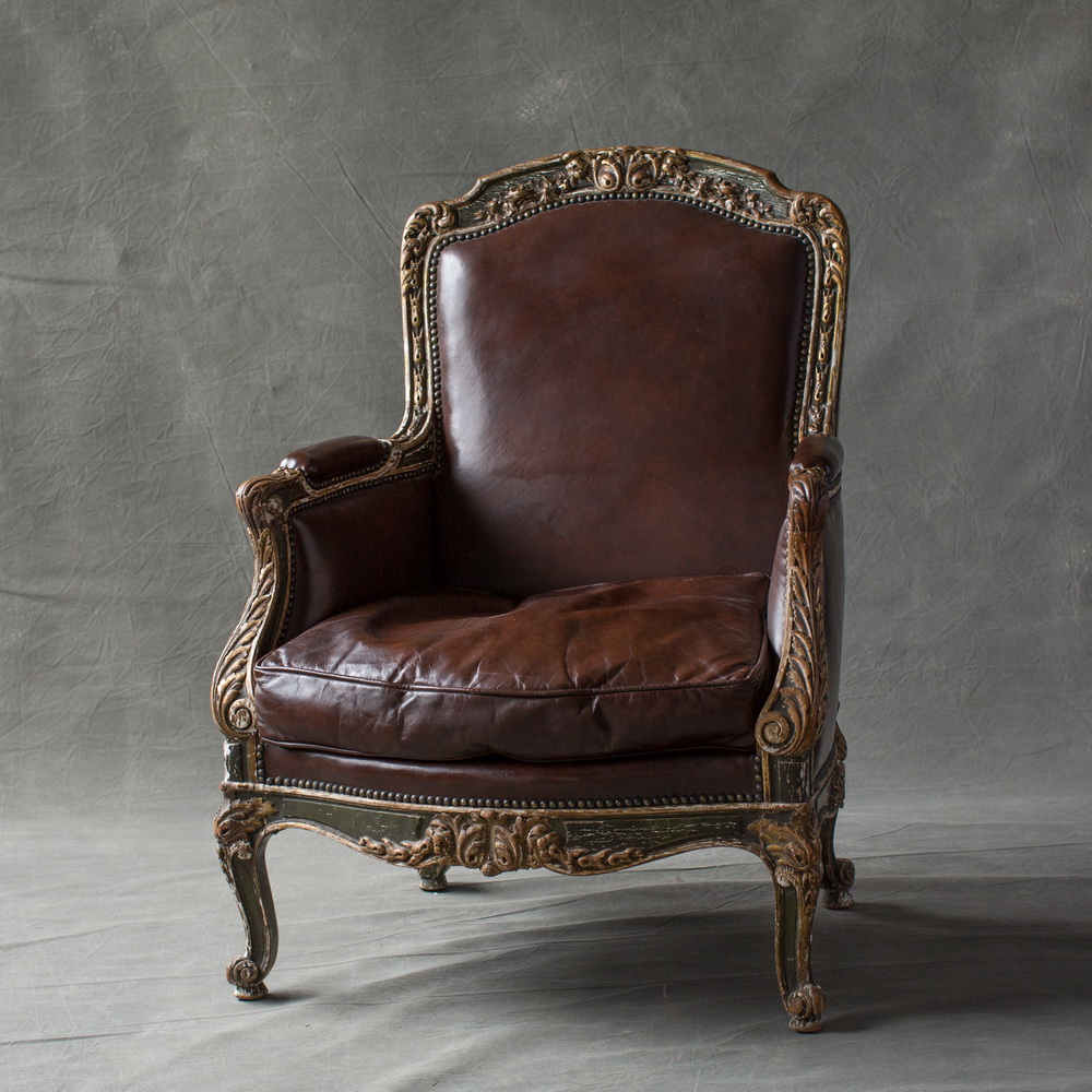 Beautifully Carved French Bergere With Original Paint And Gilt Details. New  Leather Upholstery With Down Seat Cushion.